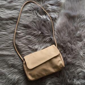 Vintage minimalist nude leather shoulder bag